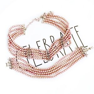 Monet Pink Pearl Choker Necklace and Bracelet